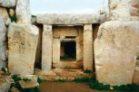 Another of the square entrances with stone stippling, this time at the lower temple of Mnajdra.