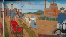 A mural at Birkdale Primary School depicts the areas settler history.