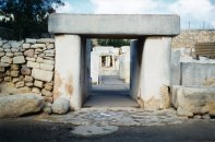 Entrance to Tarxien - this temple complexcan be found in the suburbs of Valetta.
