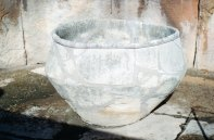 A large basin discovered in the first left apse of the middel temple of Tarxien - it was hewn from a single block of stone.