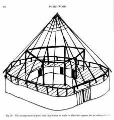 A reconstruction drawing of how a courtyard house such as those found at Chysauster might have been roofed.