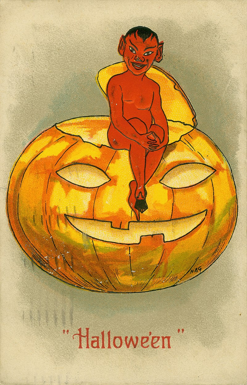 800px-_Hallowe'en.__(Devil-demon_seated_on_top_of_a_Jack-O-Lantern)